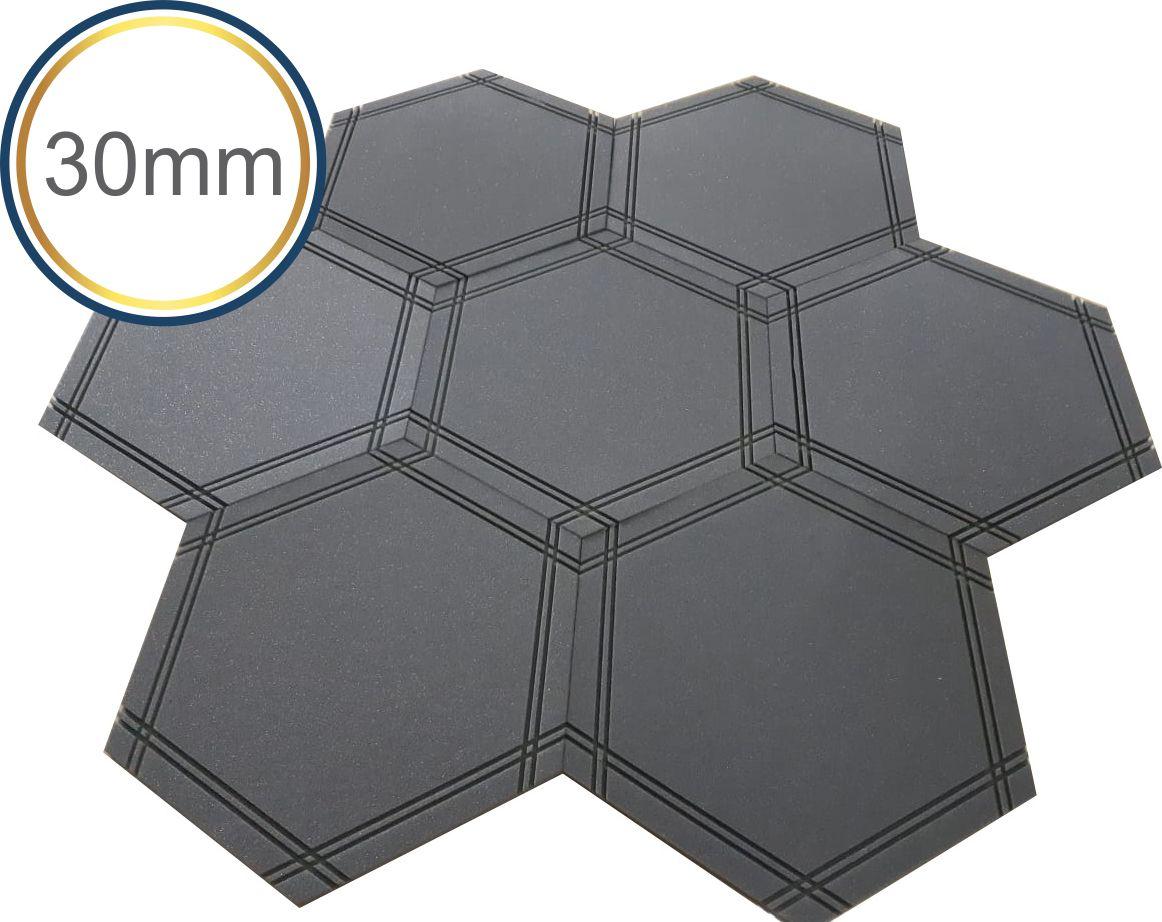 Espuma Acústica - REV Geometric- Hexagonal Mosaico-Cinza- Kit 5 peças - (1m²)  - Loja SPL Acústica