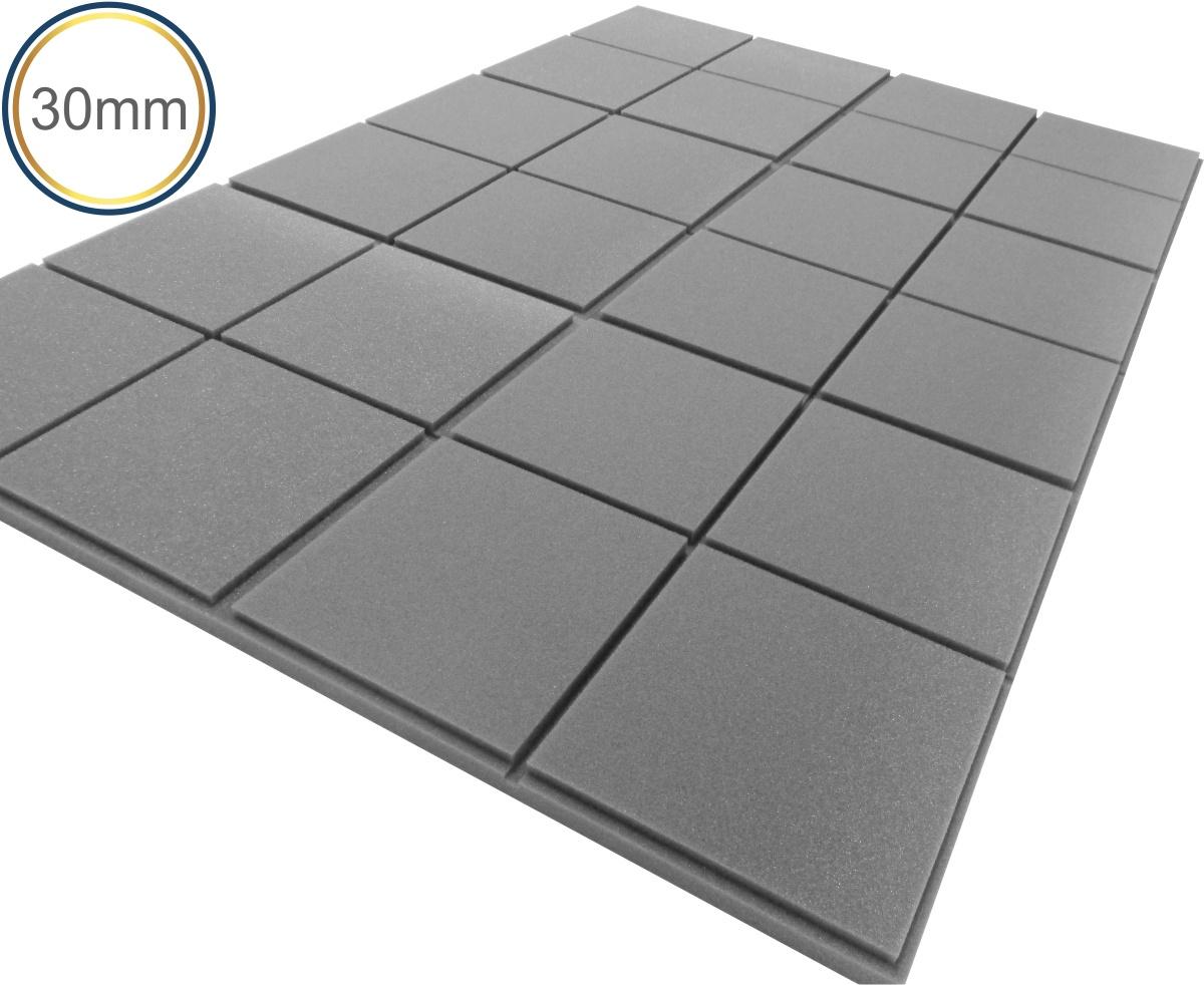 Espuma Acústica - REV - Quad 3D Cinza- Kit 4 peças (1m²) 30mm  - Loja SPL Acústica
