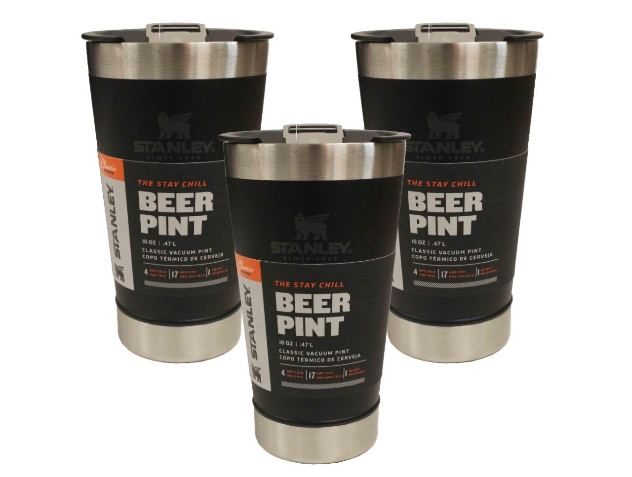 3 Copos Térmico de Cerveja Stanley Com Tampa e Abridor 473ml Preto