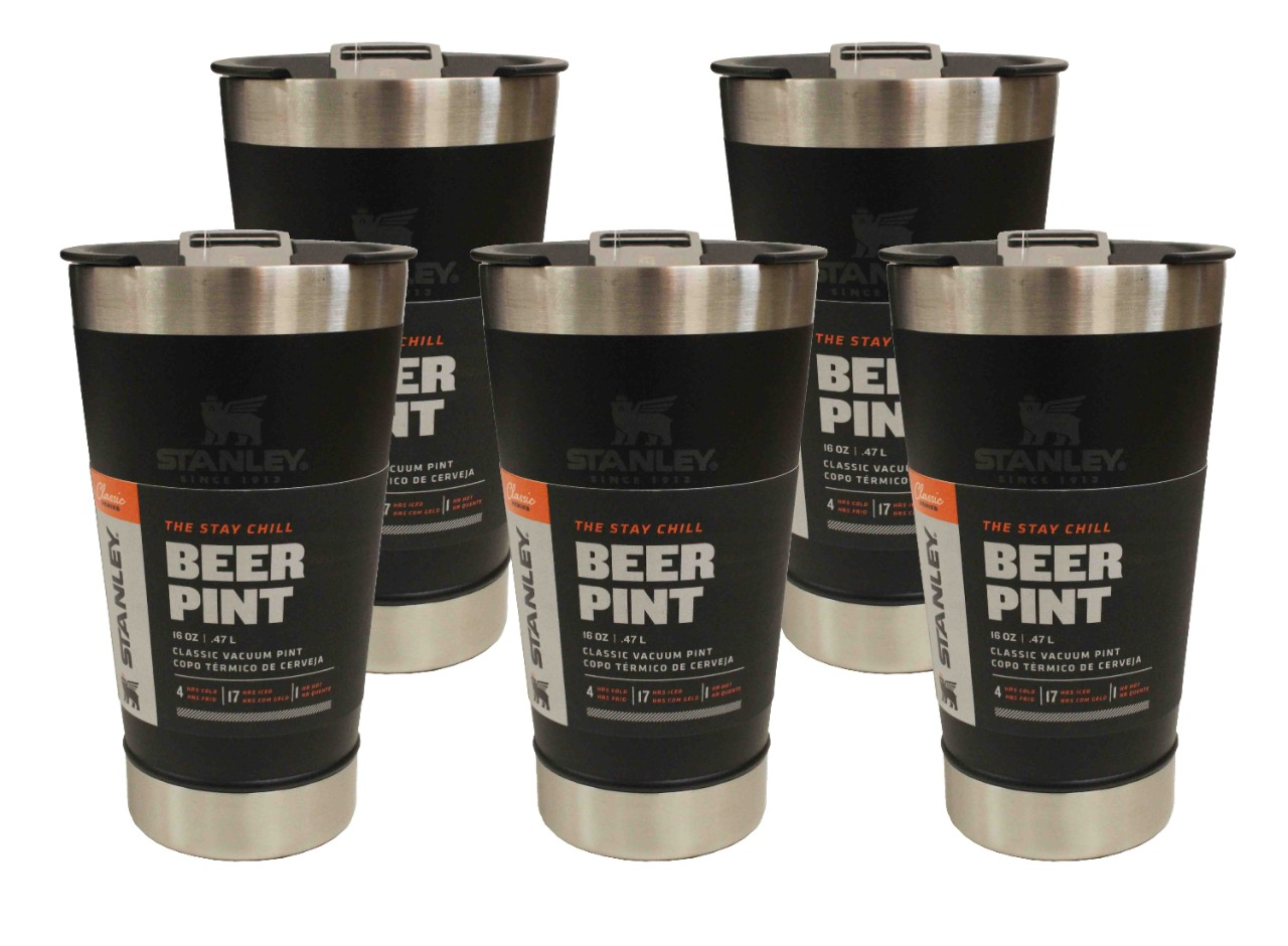 5 Copos Térmico de Cerveja Stanley Com Tampa e Abridor 473ml Preto