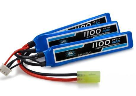 Bateria para Airsoft LiPo 11.1V - 3S (3 Pack) 20/40C 1100mAh