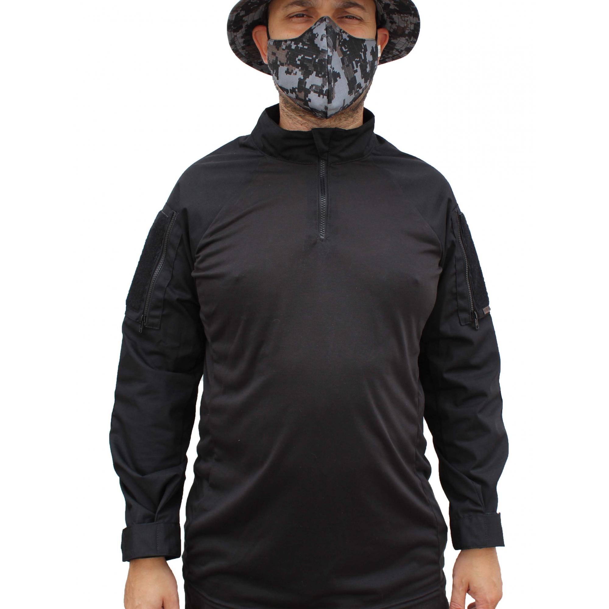 Combat Shirt 715 Forhonor Preta Com Cotoveleira