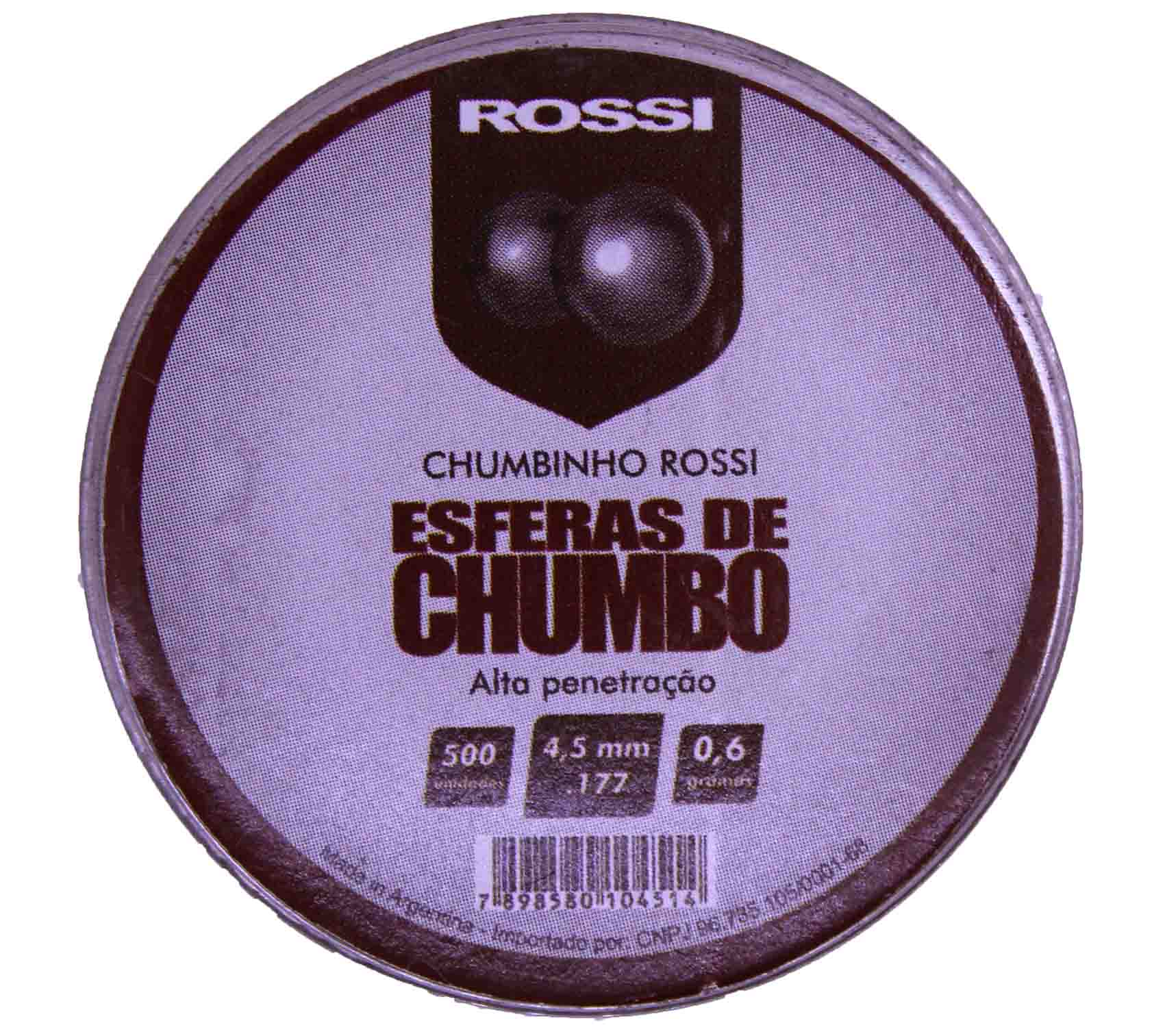 Esferas de Chumbo Rossi Alta Penetração 4,5mm .177