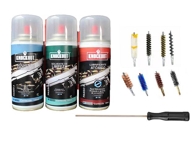 Kit Completo Limpeza Manutenção 100ml + Escovas Para Armas Cal. 38