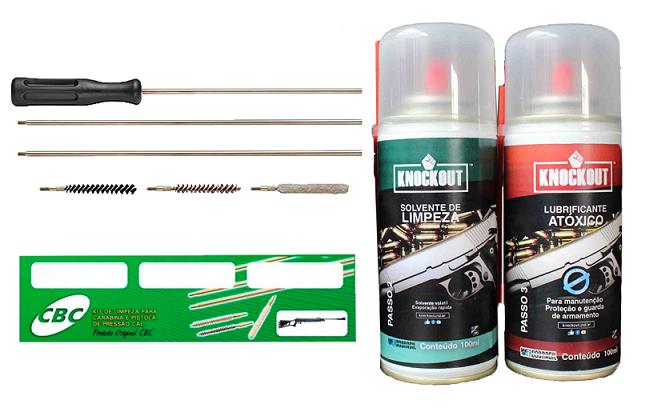 Kit de Limpeza Cbc Para Armas de Pressão + Solvente e Lubrificante