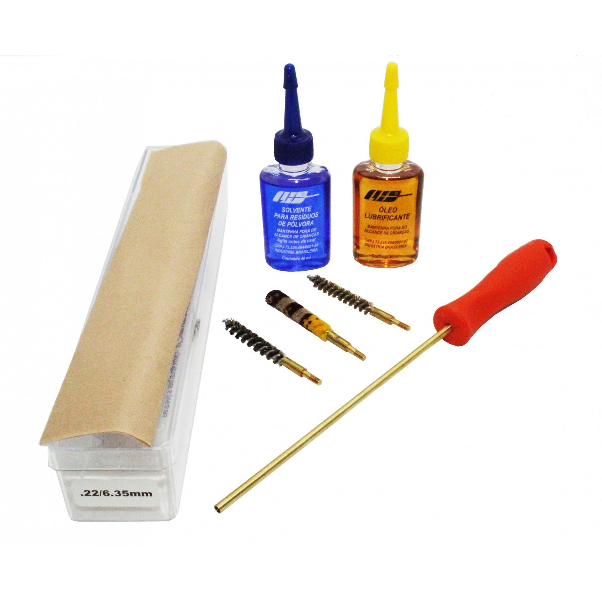 Kit de Limpeza Luxo Para Armas Curtas Calibre .22 .38. 40