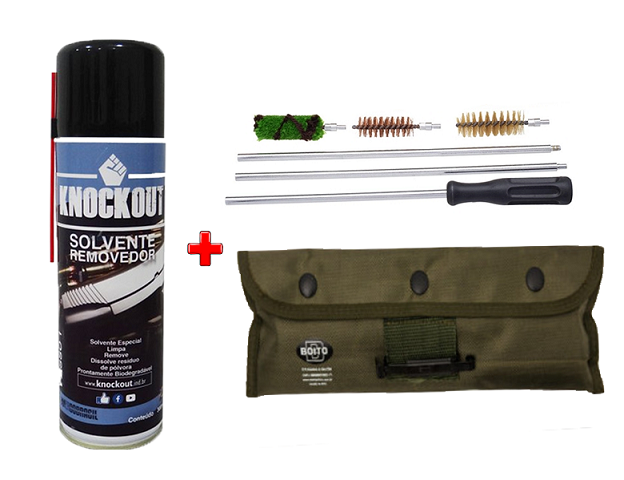 Kit Limpeza Boito Para Armas Cal.12 Com Estojo de Lona + Removedor Pólvora 300ml