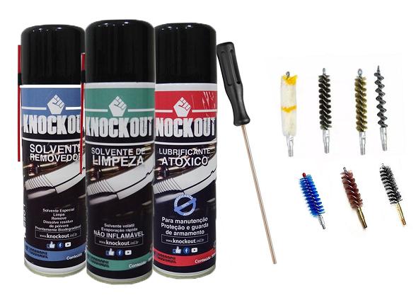 Kit Completo Limpeza Manutenção 300ml + Escovas Para Armas Cal. 38