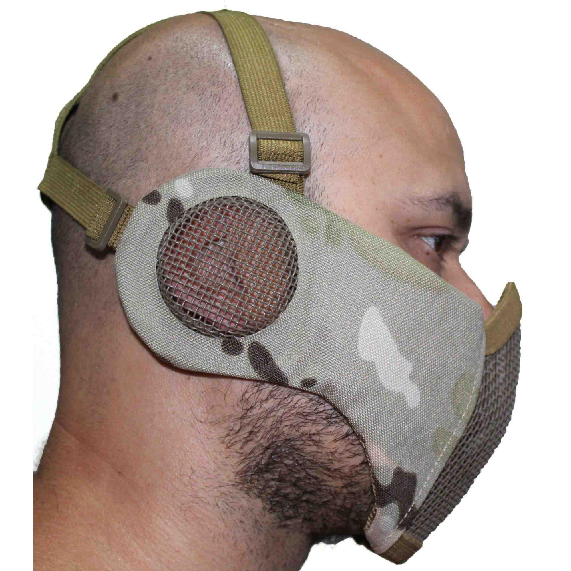 Máscara meia face almofada com protetor de orelhas - Multicam