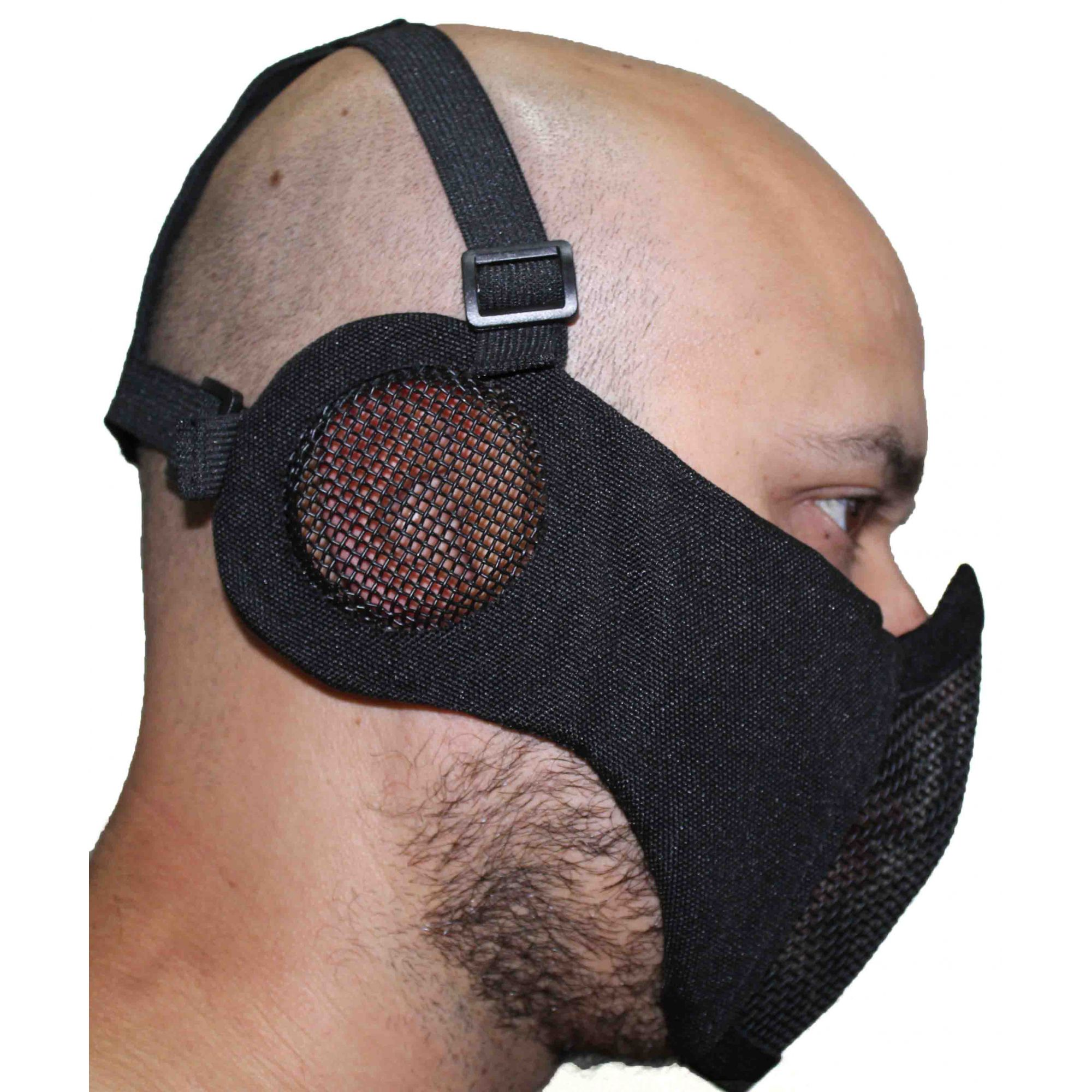 Máscara meia face almofada com protetor de orelhas - Preta