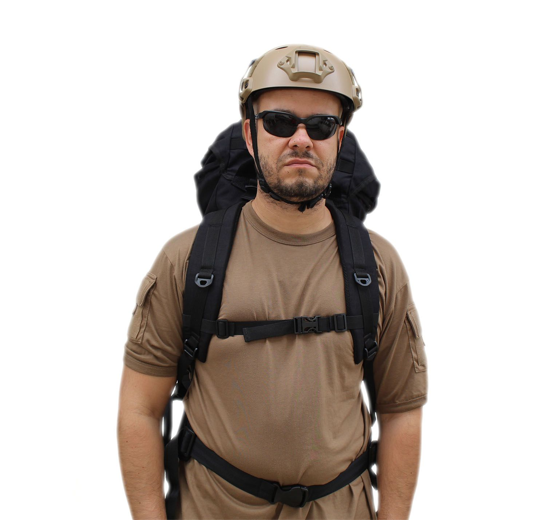 Mochila Militar Cargueira 55 litros em cordura Preta