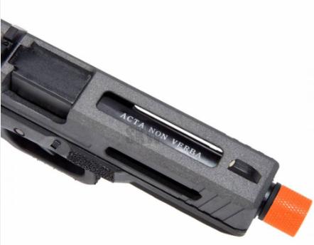 Pistola Airsoft Co2 e GBB - Skyway Secutor Gladius 17 Acta Non Verba Black II