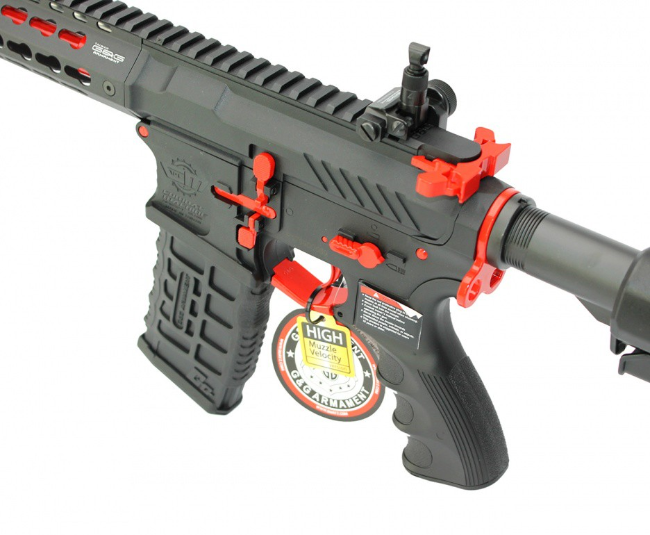 Rifle Airsoft CM16 SRXL Red Edition RIS Metal Com Gatilho Eletrônico e Mosfet