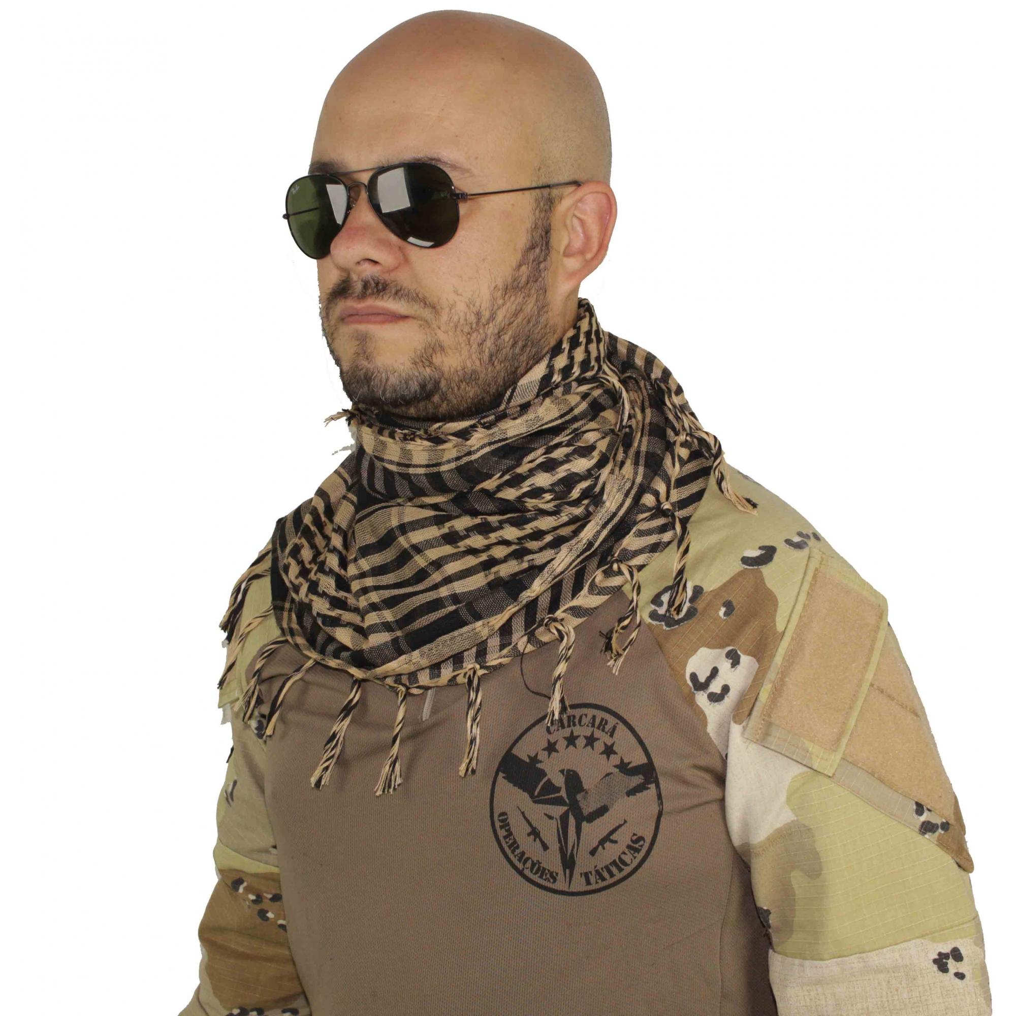 Shemagh Lenço Cachecol Militar Tatico Xadrez Tan