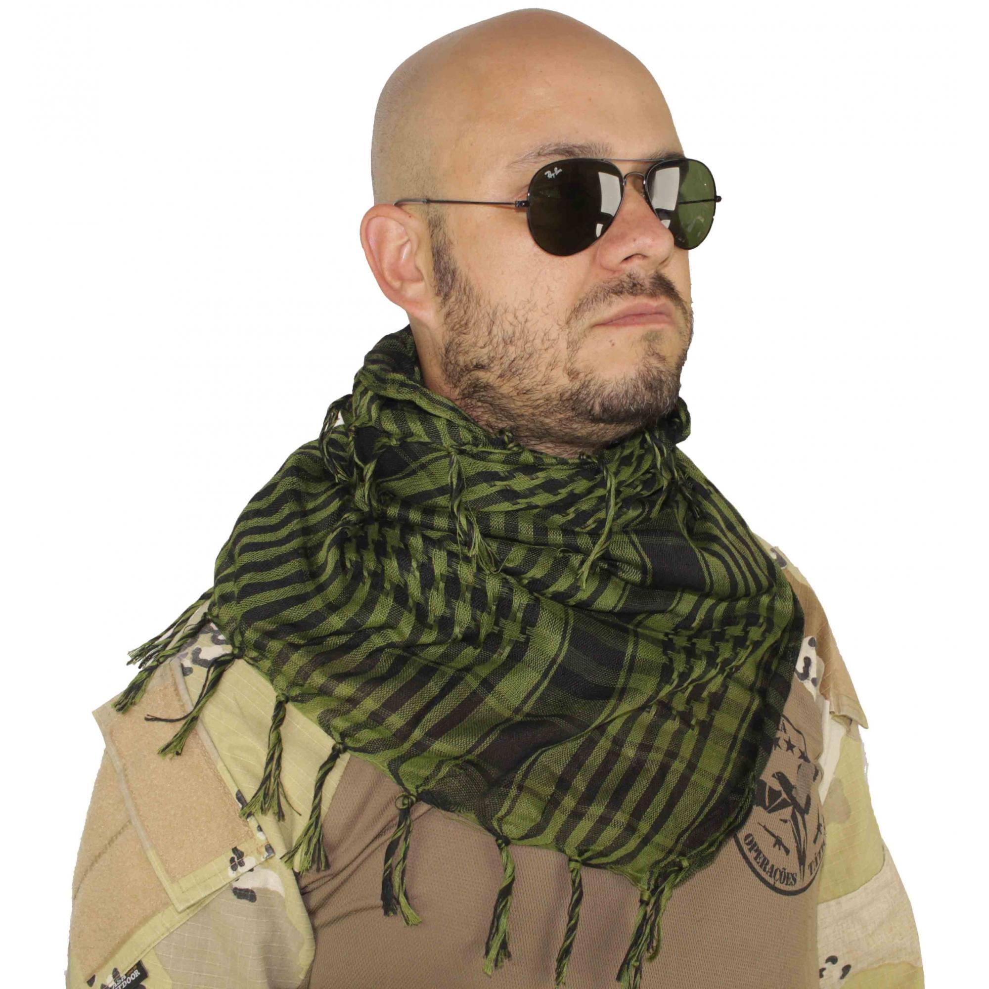 Shemagh Lenço Cachecol Militar Tatico Xadrez Verde