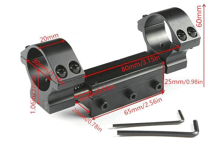 Suporte Luneta Absorção de Impacto Trilho 20mm Diâmetro 30mm