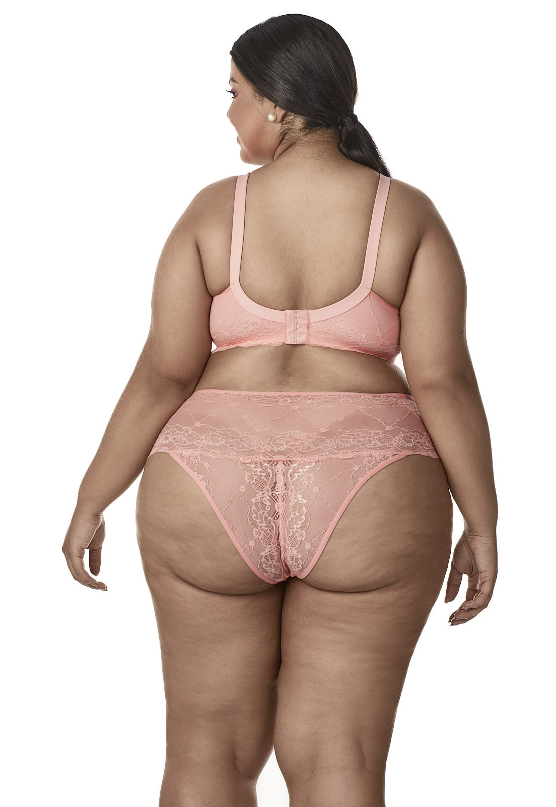 Sutiã de renda drapeado Dukley Lingerie Plus Size - Sempre Rosa - 144