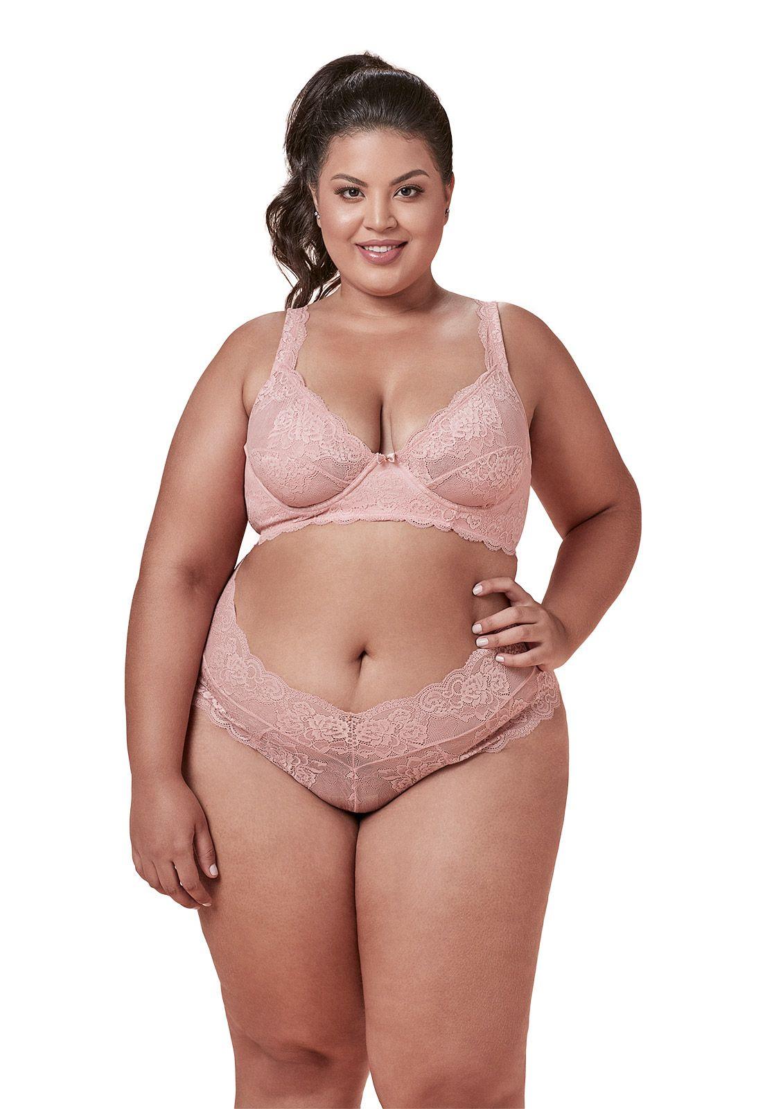 Sutiã de renda sem bojo - Dukley Lingerie - Plus Size - Sempre Rosa