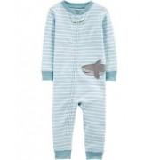Pijama listrado verde tubarão carters sem pezinho- 12 meses