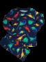 Conj. 02 Peças Camisa manga Longa + Calça Azul Dinossauro 04 Anos