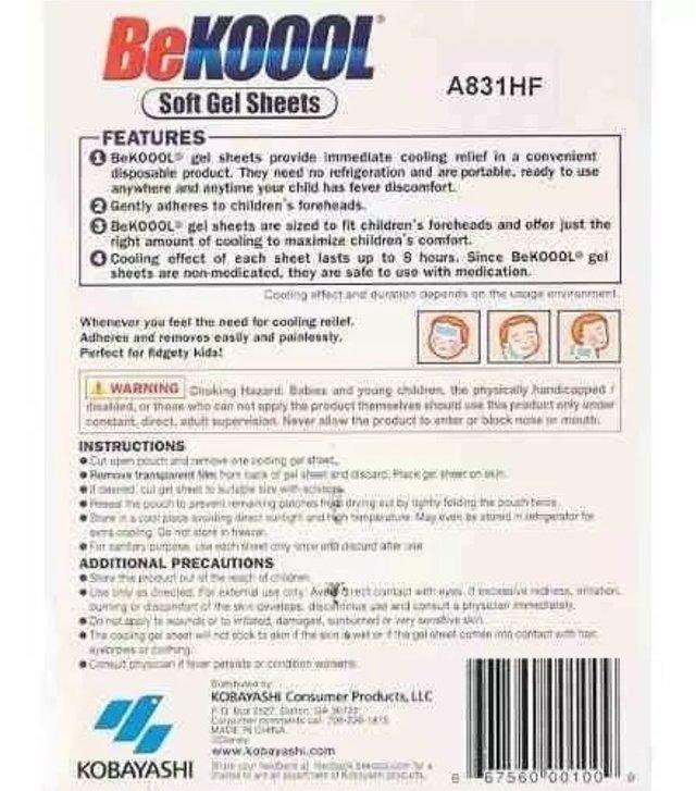 Adesivo Infantil Para Febre - Be Kool Koool Fever Usa