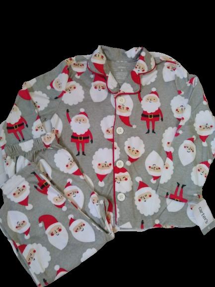 Conj. 02 Peças Pijama de Botão + Calça Cinza Papai Noel 04 Anos