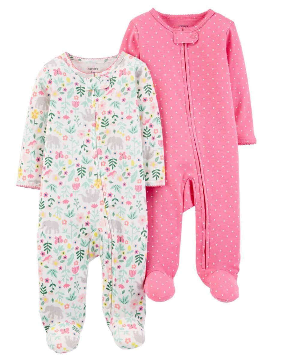 Conjunto 2 peças - Macacão e Pijama Carter's Floral e Rosa 6 meses