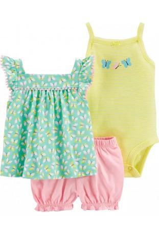Conjuntos Carters  Bebê Menina-NB/floral verde rosa amarelo
