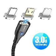 KIT 3 em 1 Cabo Floveme Turbo Quick Charge 3.0 Reforçado Com Todos os Plugs Micro USB Tipo-C e Lightning
