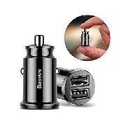 Mini Carregador Veicular Universal BASEUS Dual USB 3.1A Para Qualquer Aparelho