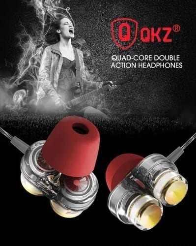 Fone de Ouvido Dual Driver Original QKZ KD7 In-Ear HiFi HQ Alta Qualidade + Espumas Foam T-400 + Case de Brinde