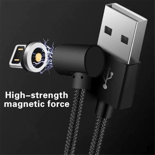 Cabo Magnético TOPK Em L 90° Revestido em Nylon Micro USB V8 Type C Android Lightning iPhone