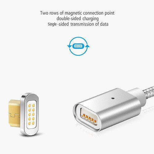 Cabo Magnético Silverr Revestido em Nylon Micro USB e Type-C