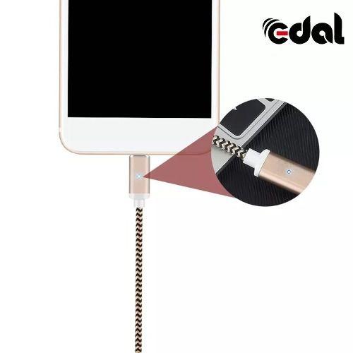 Cabo Magnético EDAL Em Nylon Com suporte a Carregamento Turbo Tipo-C e Micro USB