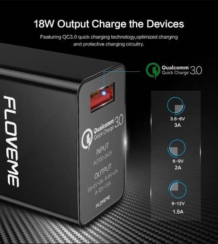 Carregador de Parede TURBO Original Floveme Universal Fast Charging Quick Charge 3.0 Carga Rápida