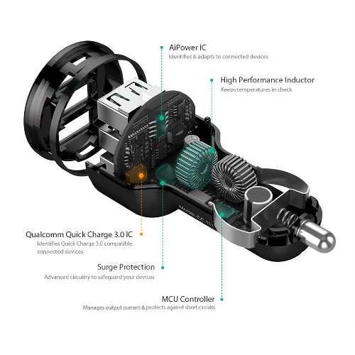 Carregador Turbo Veicular 3 USB Original AUKEY AiPower Universal + Cabo