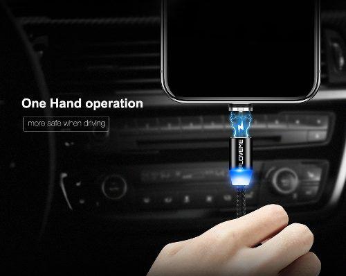 Cabo Magnético Original TOPK AM23 Em Nylon Para Android e iPhone Com Conectores Micro USB Tipo-C e Lightning