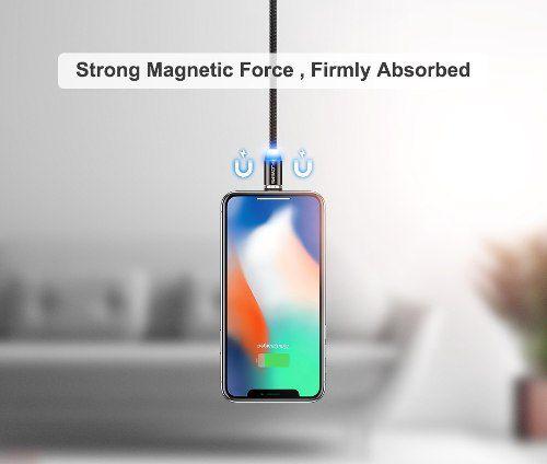 Cabo Magnético Original TOPK Em Nylon Para Android e iPhone Com Conectores Micro USB Tipo-C e Lightning