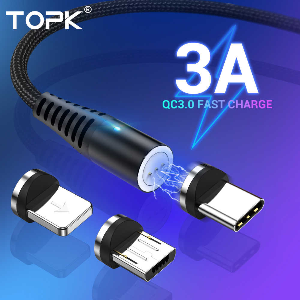 Cabo Magnético 3 Em 1 Original TOPK AM60 Reforçado Turbo Quick Charge 3.0 em Nylon Com Conectores Micro USB Tipo-C e Lightning (Apple)