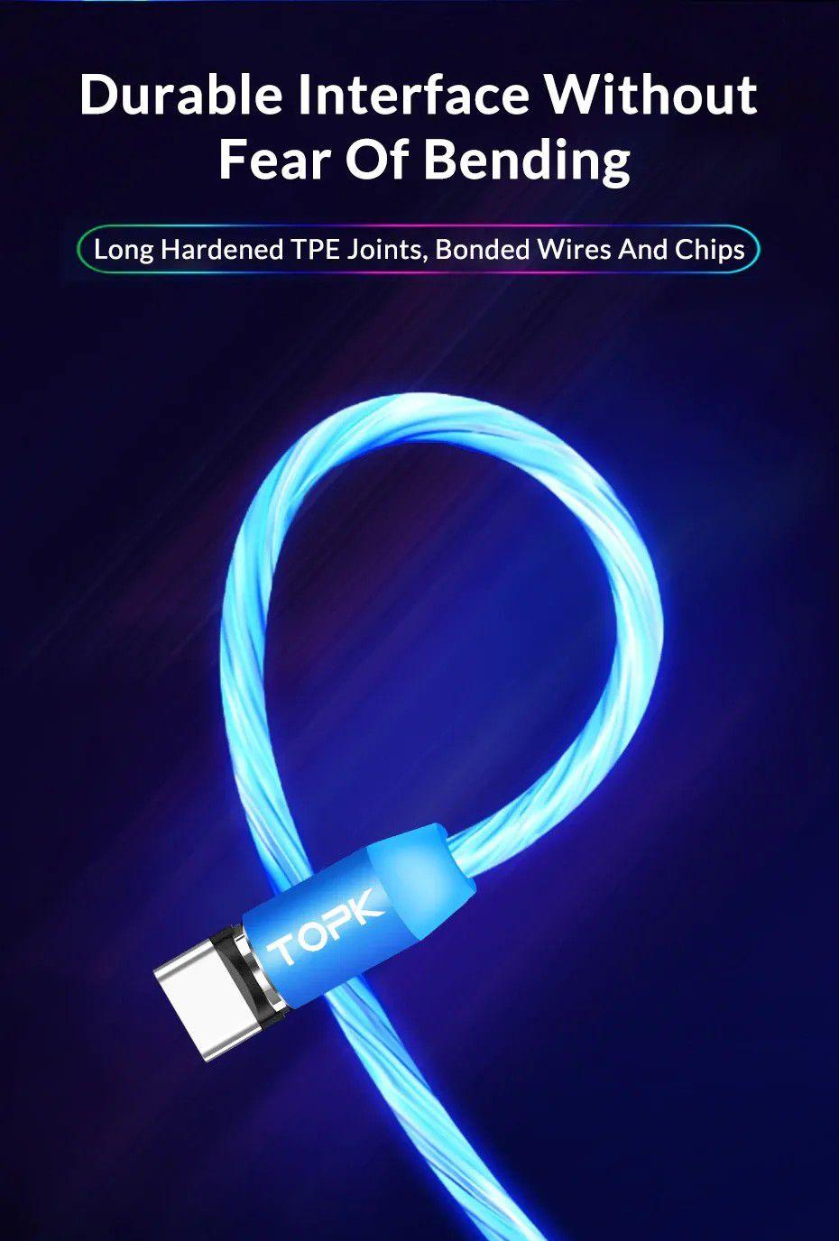 Cabo Magnético LED iluminado - Micro USB, Tipo-C ou Lightning para iPhone - Azul, Vermelho, Verde ou RGB