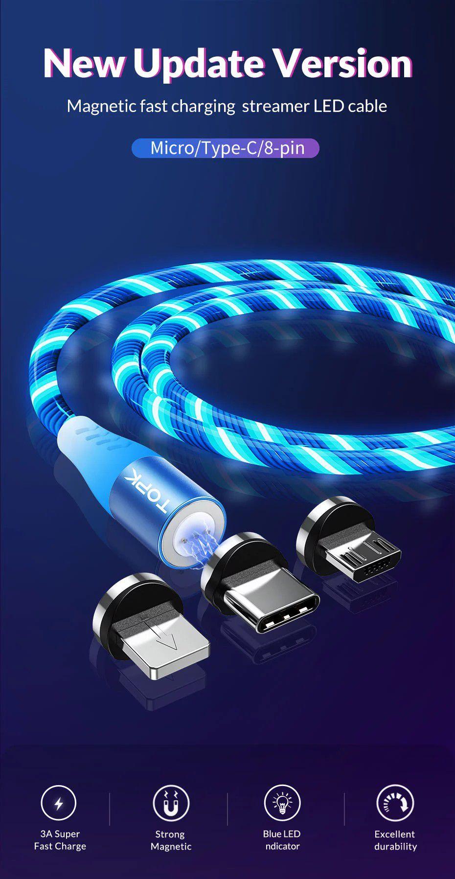 Cabo Magnético LED iluminado Turbo Quick Charge 3.0 - Micro USB, Tipo-C ou Lightning para iPhone - Azul, Vermelho, Verde ou RGB