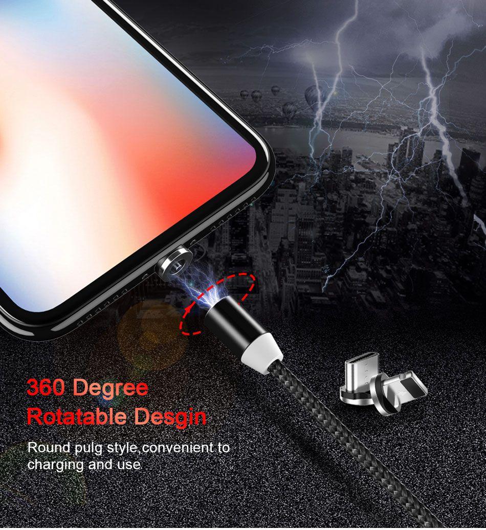 Cabo Magnético Topk Em Nylon Para Android e iPhone Com Todos os Conectores - Micro USB Tipo-C e Lightning