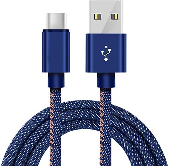 Cabo Turbo Revestido em Jeans Original Floveme Micro USB e Tipo-C 1 Metro de Comprimento