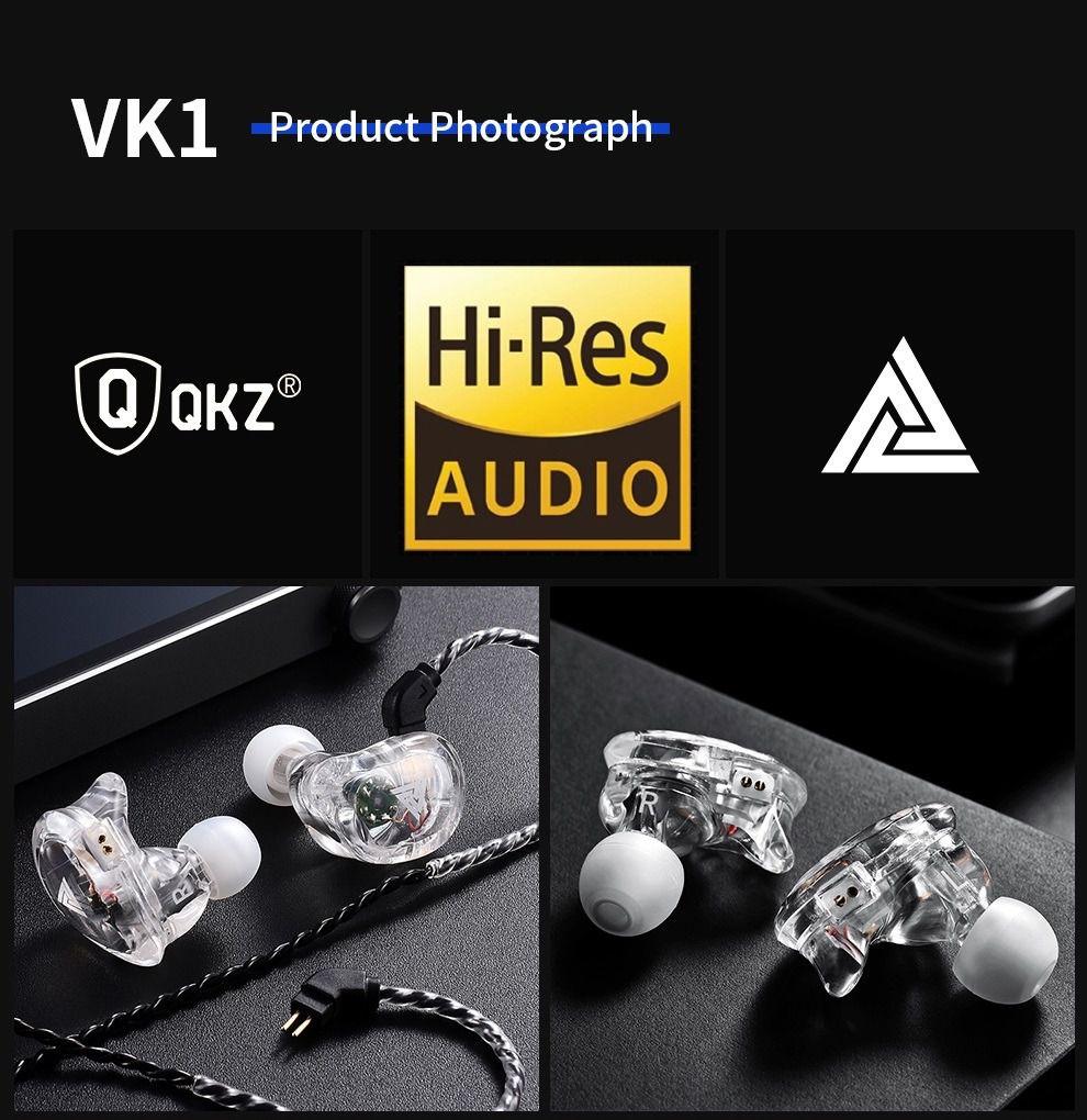 Fone de Ouvido Profissional 4DD Original QKZ VK1 In-Ear HiFi HQ Alta Qualidade Com Cabo Destacável - Transparente
