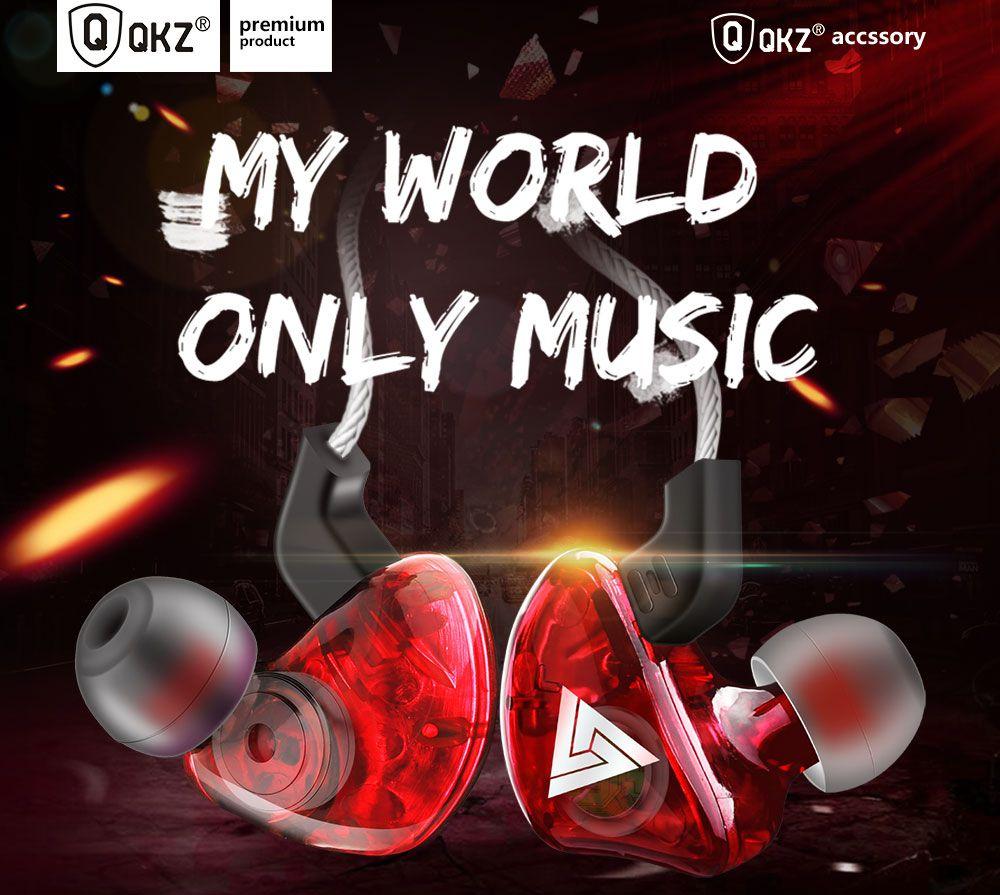 Fone Original QKZ CK5 Hi-FI Hi Res Audio Alta Qualidade Vermelho + Case
