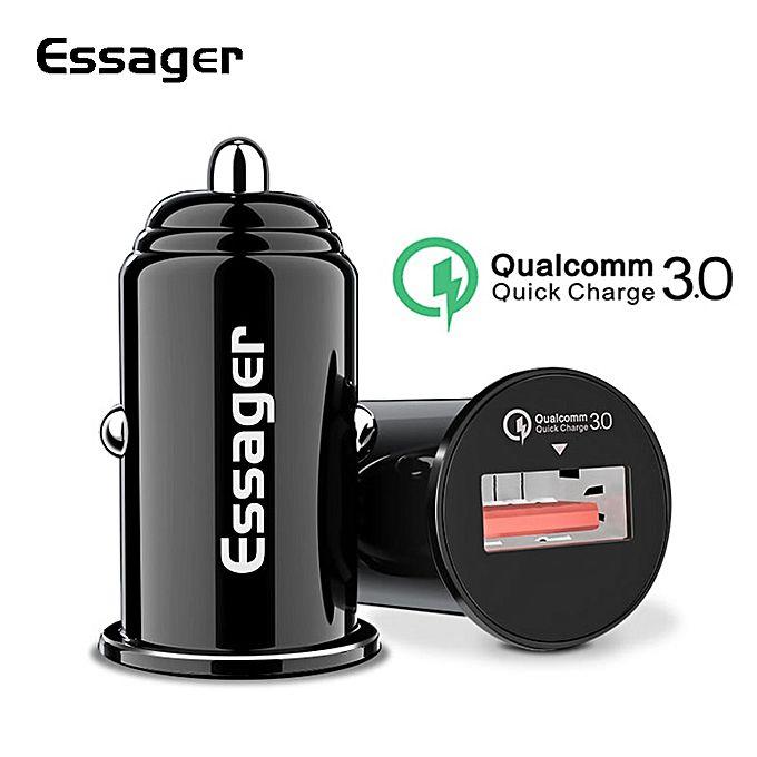 Mini Carregador Turbo Veicular Original Essager Quick Charge 3.0 5-12 Volts e 3 Amperes.