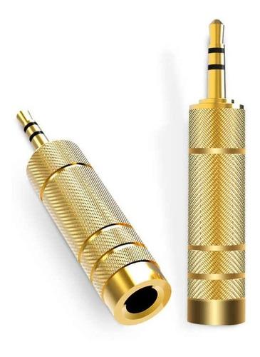 Plug Adaptador P10 Para P2 Stereo Gold Dourado