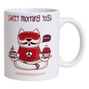 Caneca De Porcelana - Gato Yoga
