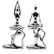 Estatuetas de Cerâmica - Posturas de Yoga (Cor Prata)