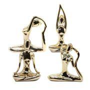 Estatueta de Cerâmica - Posturas de Yoga (Cor Dourada)